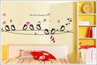 Oren Empower Singing Bird Decorative Removable Wall Sticker(58 cm X cm 160, Multicolor)