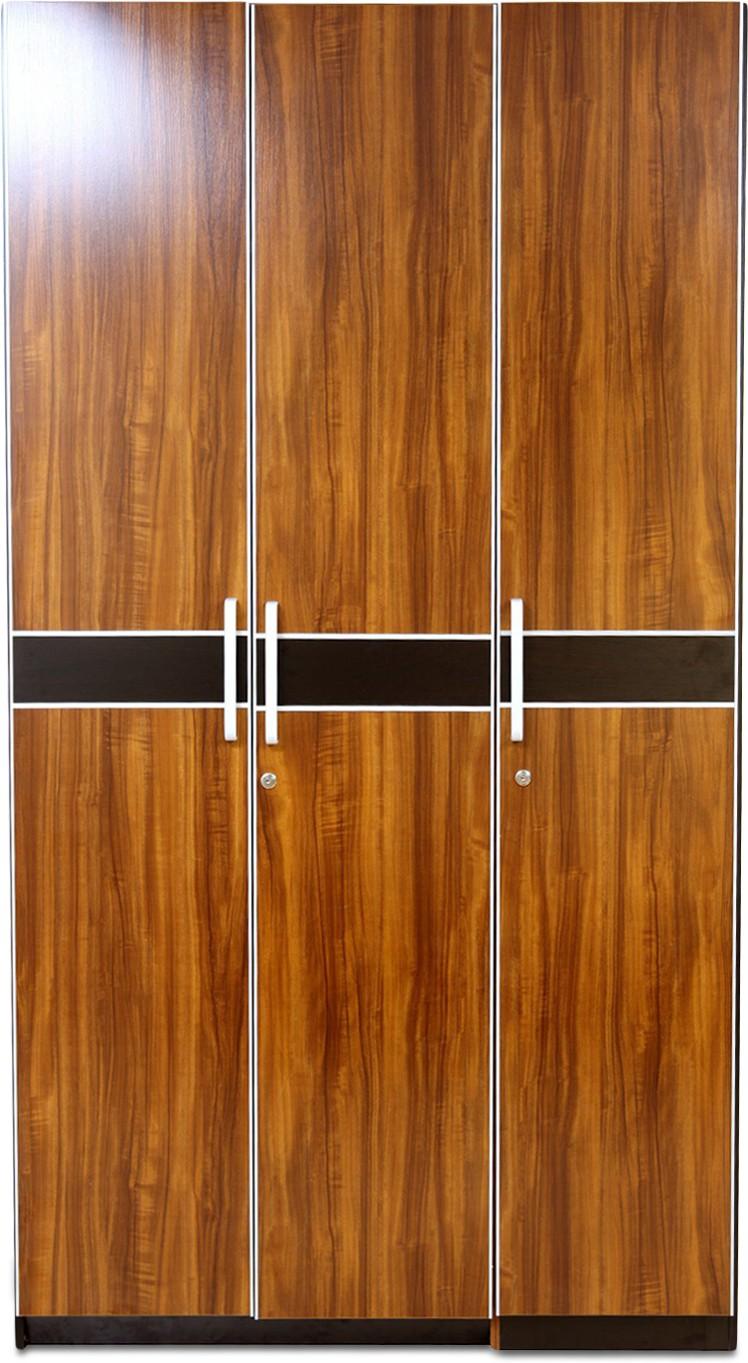 View Evok Hamburg Engineered Wood 3 Door Wardrobe(Finish Color - Walnut Brown) Price Online(Evok)