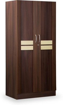 Debono Woody Two door Wardrobe in Acacia Dark & Maple Engineered Wood Free Standing Wardrobe