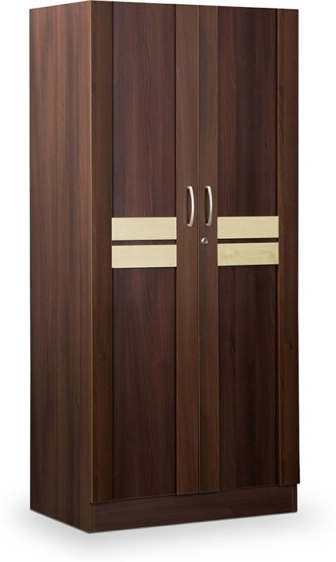 Debono Woody Two door Wardrobe in Acacia Dark & Maple Engineered Wood Free Standing Wardrobe(Finish Color - Acacia Dark & Maple matt Finish, 2 Door )