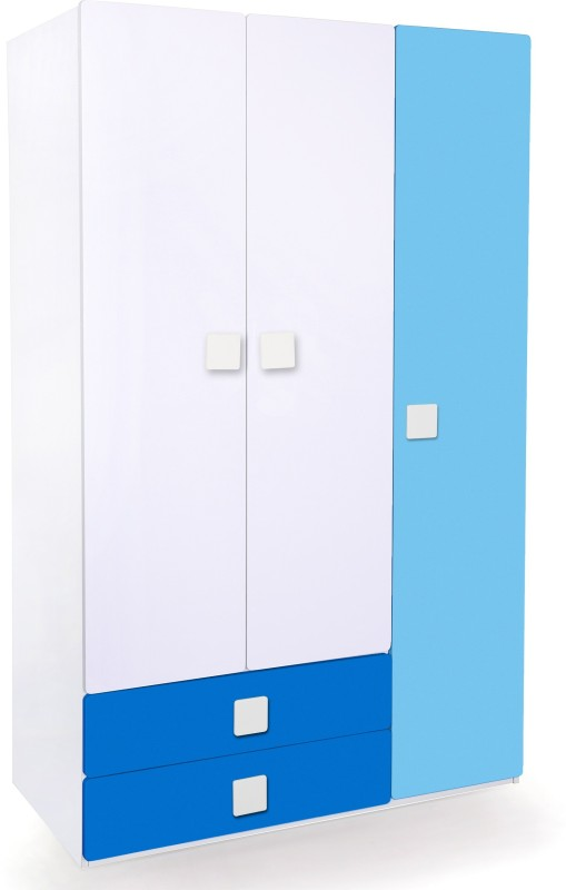 Alex Daisy Universal Engineered Wood Free Standing Wardrobe(Finish Color - Blue & White, 3 Door )