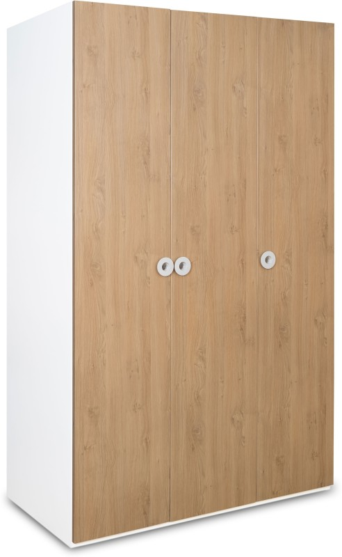 Alex Daisy Country Engineered Wood Free Standing Wardrobe(Finish Color - Oak & White, 3 Door )