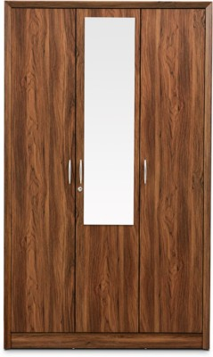 HomeTown Stark Engineered Wood Free Standing Wardrobe(Finish Color - Walnut, 3 Door )