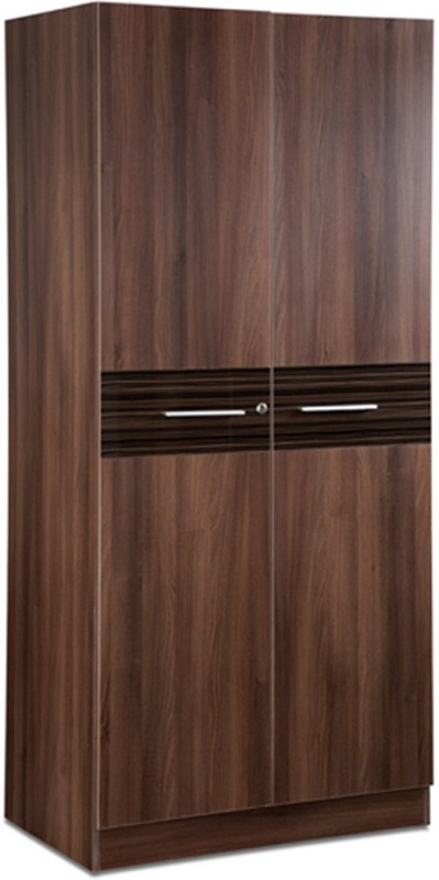 Debono Belda Z Two door Wardrobe in High Gloss Zebrano & Acacia Dark Matt Finish Engineered Wood Free Standing Wardrobe(Finish Color - High Gloss Zebrano & Acacia Dark, 2 Door )