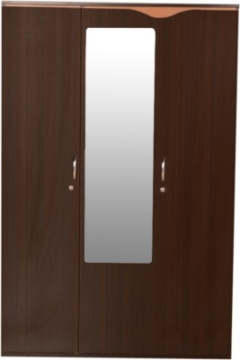 HomeTown Swirl 3 Door Engineered Wood Free Standing Wardrobe