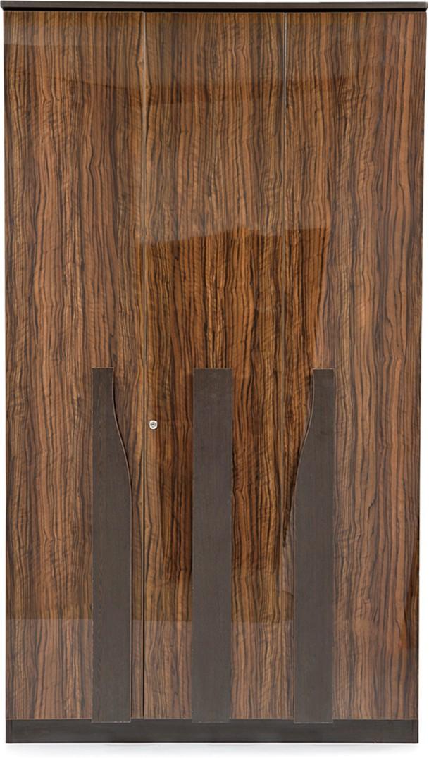 View Evok Cosmo Engineered Wood 3 Door Wardrobe(Finish Color - Walnut Brown) Price Online(Evok)