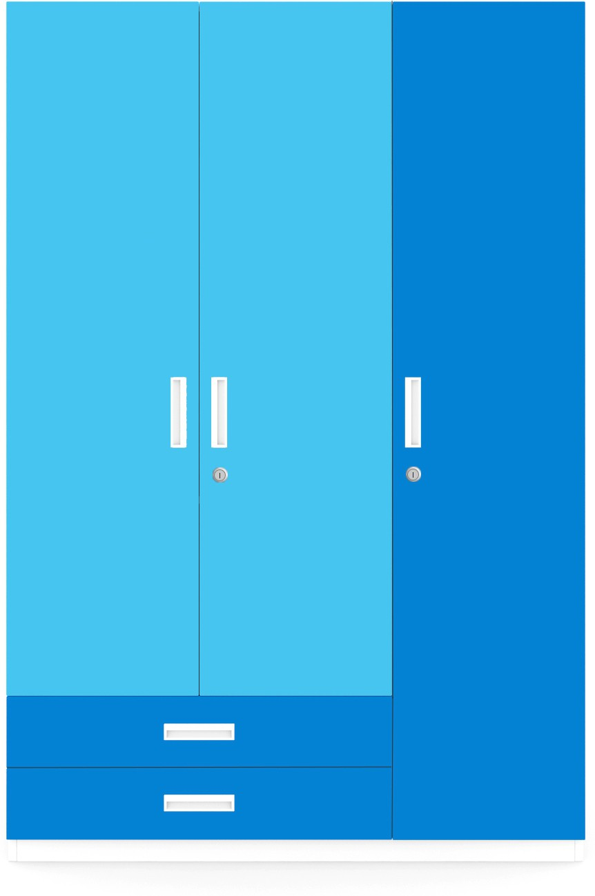 View UNiCOS Engineered Wood Free Standing Wardrobe(Finish Color - Blue, 3 Door ) Furniture (UNiCOS)