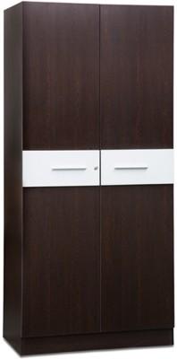 Debono Tiffany Two door Wardrobe in Wenge Matt & Silver Finish Engineered Wood Free Standing Wardrobe