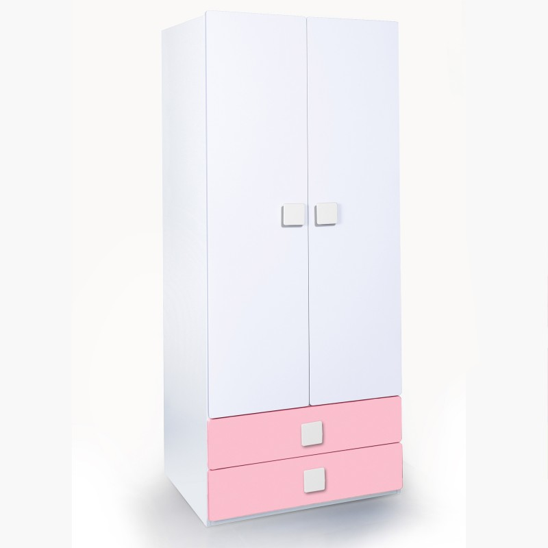 Alex Daisy Universal Engineered Wood Free Standing Wardrobe(Finish Color - Pink & White, 2 Door )