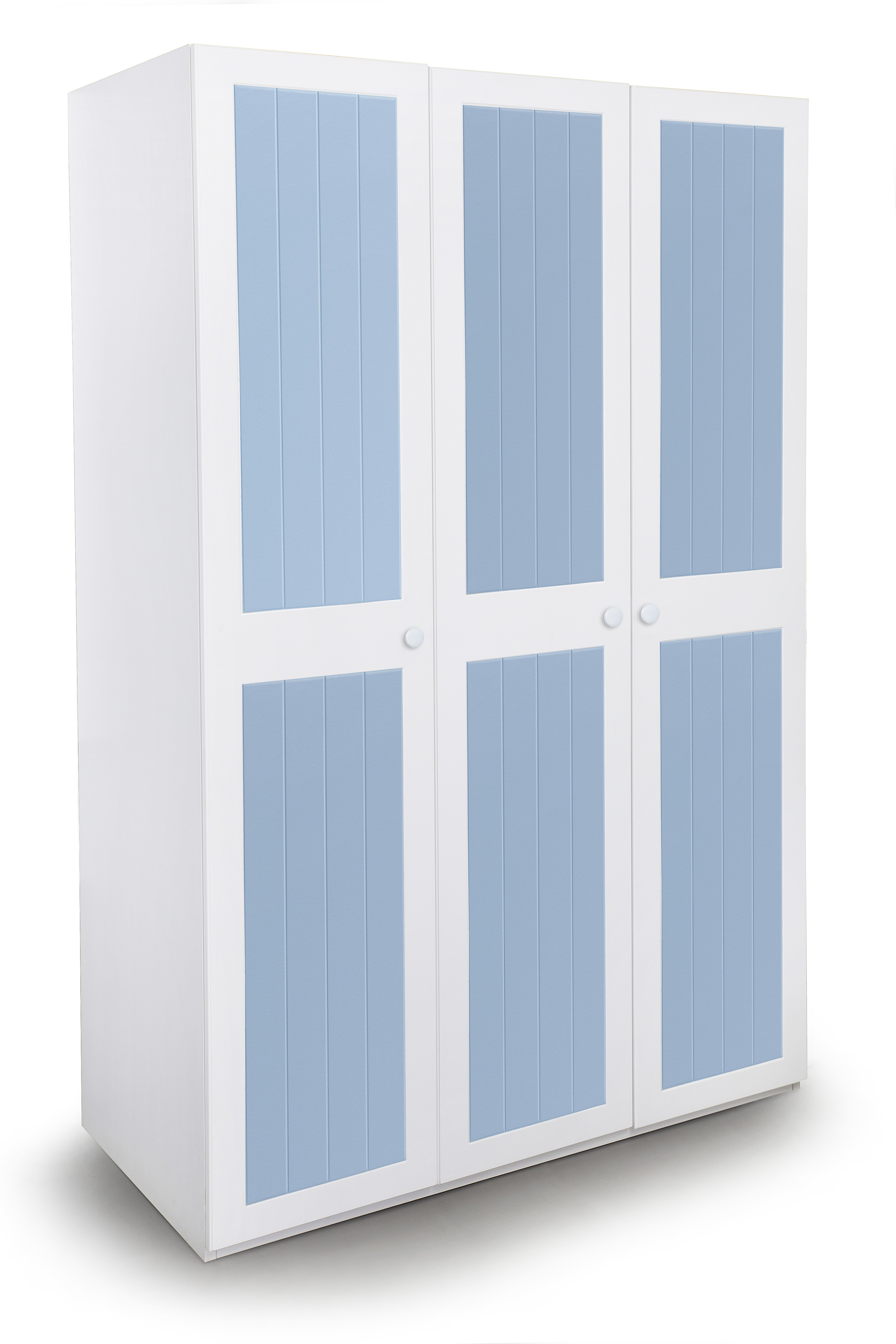 View Alex Daisy French Engineered Wood 3 Door Wardrobe(Finish Color - Blue and White) Price Online(Alex Daisy)
