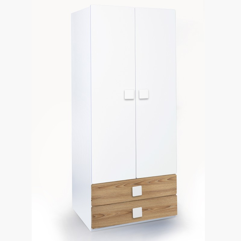 Alex Daisy Universal Engineered Wood Free Standing Wardrobe(Finish Color - Oak & White, 2 Door )