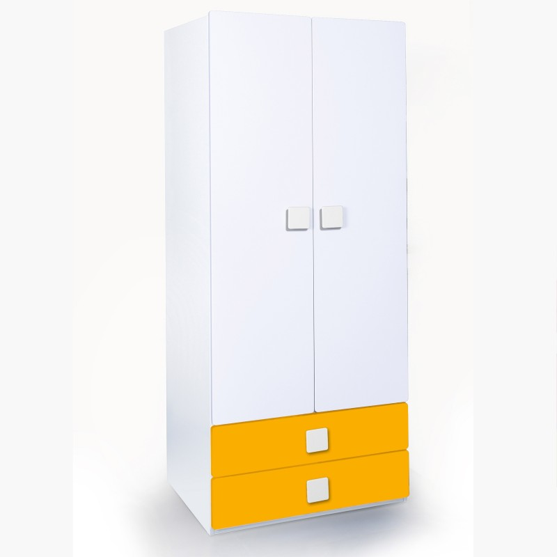 Alex Daisy Universal Engineered Wood Free Standing Wardrobe(Finish Color - White & Yellow, 2 Door )