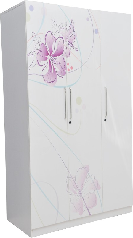 Parin Engineered Wood Free Standing Wardrobe(Finish Color - White and Purple, 3 Door )
