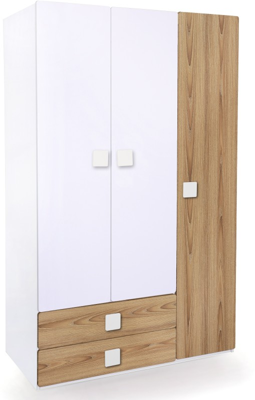 Alex Daisy Universal Engineered Wood Free Standing Wardrobe(Finish Color - Oak & White, 3 Door )