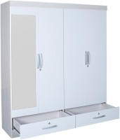 HomeTown Apollo Engineered Wood Free Standing Wardrobe(Finish Color - White, 4 Door )