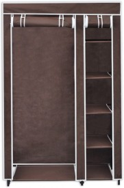 Novatic Carbon Steel Collapsible Wardrobe(Finish Color - Brown)