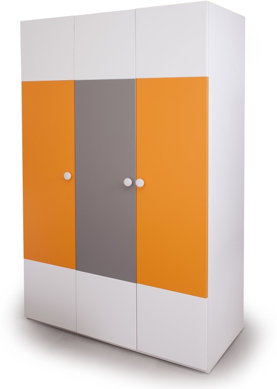 Alex Daisy Solo Engineered Wood Free Standing Wardrobe(Finish Color - Orange - Grey - White, 3 Door )