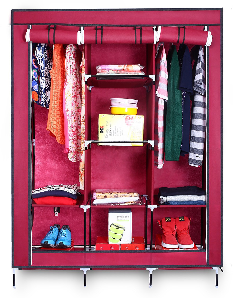 View Birdy Fabric Closet(Finish Color - brown, 3 Door ) Furniture (Birdy)