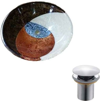 MUDIT Resin With Waste Coupling M015 Table Top Basin(Brown, White, Blue)