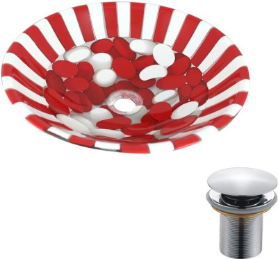 MUDIT Resin With Waste Coupling M004 Table Top Basin(Red, White)