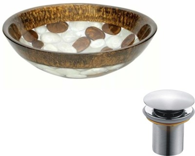 MUDIT Resin With Waste Coupling M018 Table Top Basin(Brown, White)