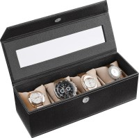 Ecoleatherette Deco Watch Box(Black Holds 4 Watches)