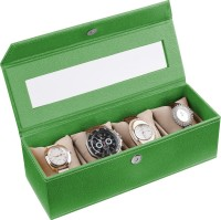 Ecoleatherette Deco Watch Box(Vibrant green Holds 4 Watches)