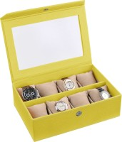 Ecoleatherette Handcrafted Watch Box(Lime Yellow Holds 8 Watches)