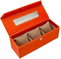 Swiss Design Eco leatherette Watch Box(Brunt Orange Holds 3 Watches)