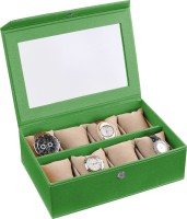 Ecoleatherette Handcrafted Watch Box(Vibrant green Holds 8 Watches)