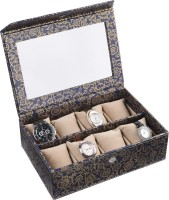 Ecoleatherette Handcrafted Watch Box(Blue Gold Holds 8 Watches)