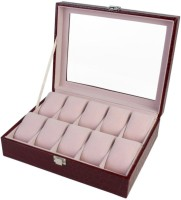 BlushBees 10 Slot Leather Watch Box(Wine Red Holds 10 Watches)