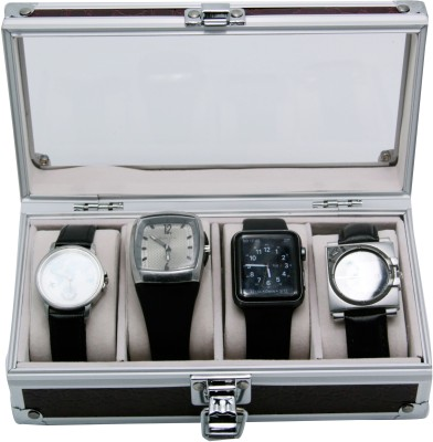 Inventure Retail Brown Watch Box Watch Box(Brown, Holds 4 Watches)