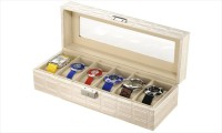 Inventure Retail 6 Slot PU Leather Organizer (White) Watch Box(White Holds 6 Watches)