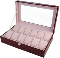 BlushBees 12 Slot Leather Watch Box(Wine Red Holds 12 Watches)