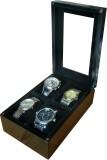 SLK Wooden Watch Box (Black, Holds 4 Wat...