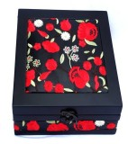 Kuero Red and Black Floral Wooden Watch ...