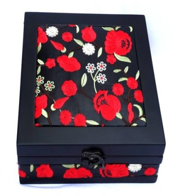 Kuero Red and Black Floral Wooden Watch Box