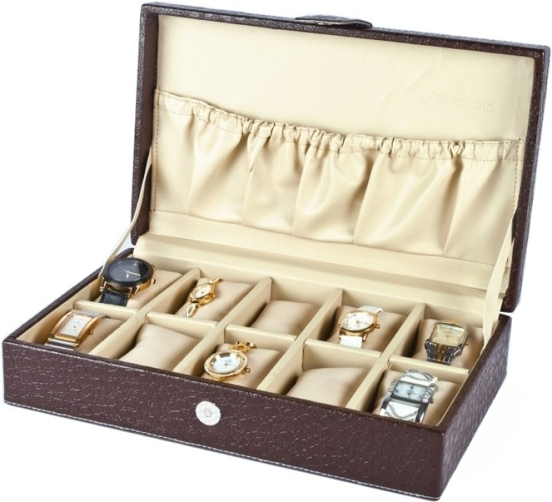 D'signer Watch Box(Brown, Beige, Holds 10 Watches)