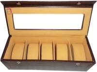 Atorakushon Watch Storage Watch Box(Brown, Holds 5 Watches)