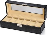 Inventure Retail 6 Slot PU Leather Organizer (Black) Watch Box(Black Holds 6 Watches)