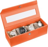 Ecoleatherette Handcrafted Watch Box(Brunt Orange, Holds 4 Watches)