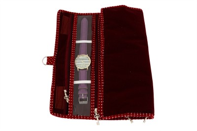 K&P Watch cum Payal Cover Watch Box(Maroon, Holds 5 Watches)