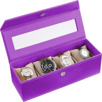 Ecoleatherette Handcrafted Watch Box(Lilac, Holds 4 Watches)