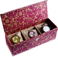 Ecoleatherette Handcrafted Watch Box(Multicolour, Holds 3 Watches)