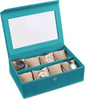Ecoleatherette Handcrafted Watch Box(Sea Green Holds 8 Watches)