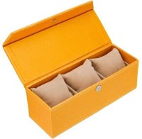 Swiss Design Eco leatherette Watch Box(Golden Holds 3 Watches)