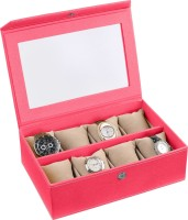 Ecoleatherette Deco Watch Box(Dark Pink Holds 8 Watches)
