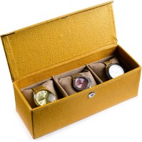Ecoleatherette Deco Watch Box(Multicolour, Holds 3 Watches)