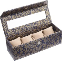 Ecoleatherette Handcrafted Watch Box(Blue Gold Holds 4 Watches)